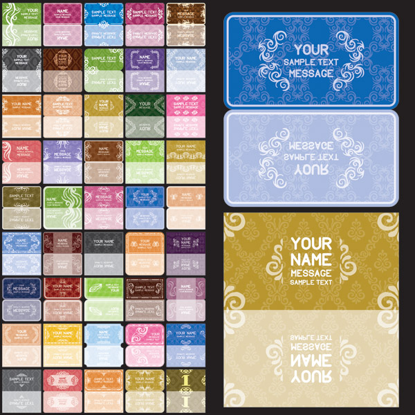 free vector Variety of european background pattern vector 1 card