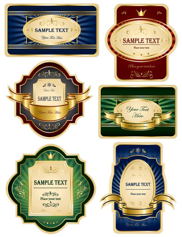 free vector Variety of european label vector