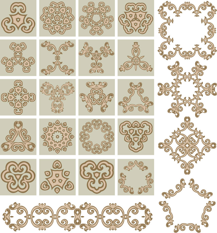 free vector Variety of practical material classical pattern vector