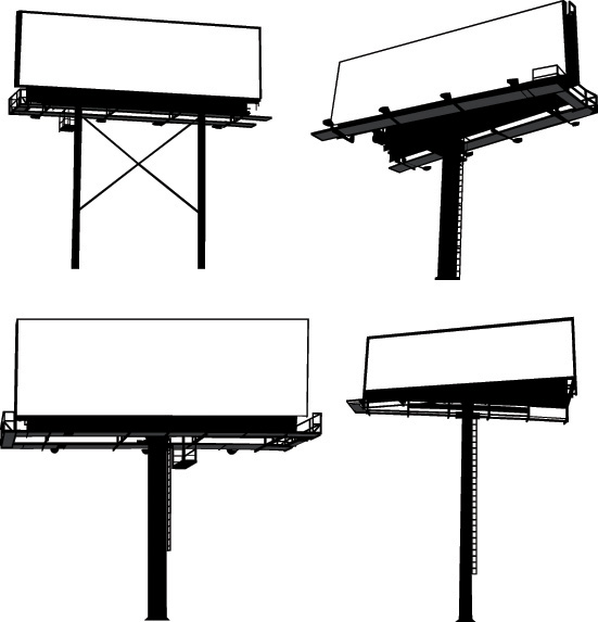 free vector Variety of types of outdoor billboard template vector