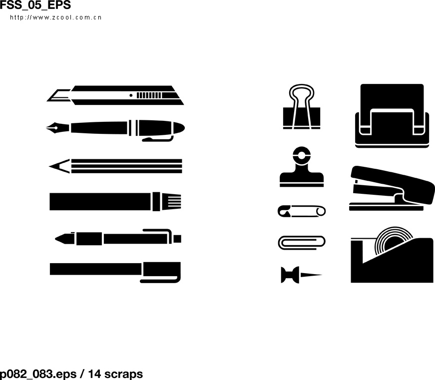 various elements of vector silhouette office stationery