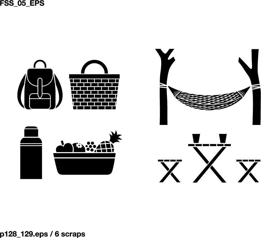 free vector Various elements of vector silhouette recreation 58 elements