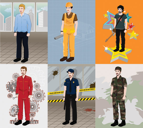 free vector Various professional figures vector