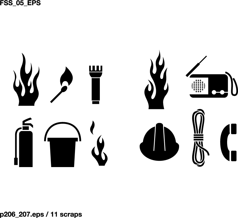 free vector Various silhouette vector elements weather plants technology fire protection 64 elements