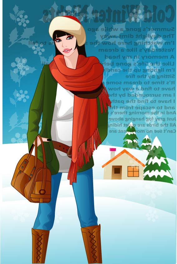 free vector Vector 11 female winter