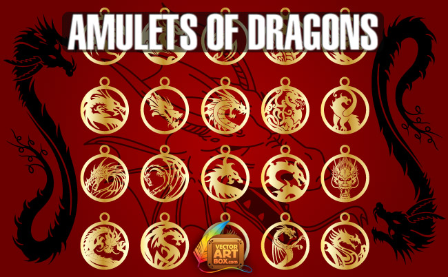 free vector Vector Amulets of Dragons