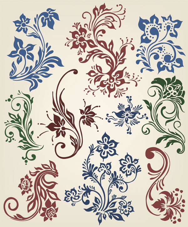 free vector Vector Beautiful Floral Curls