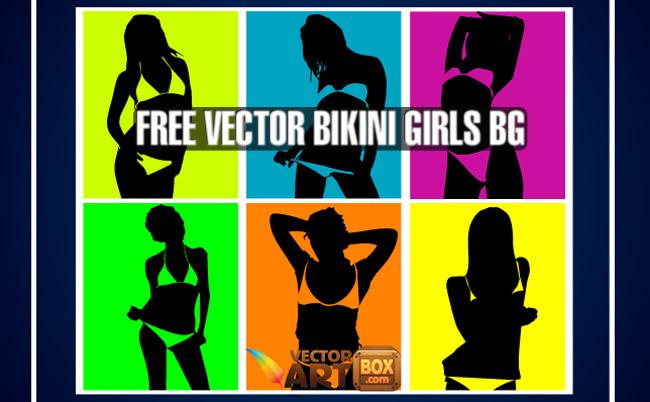 free vector Vector Bikini Girls Pop Art Style Background