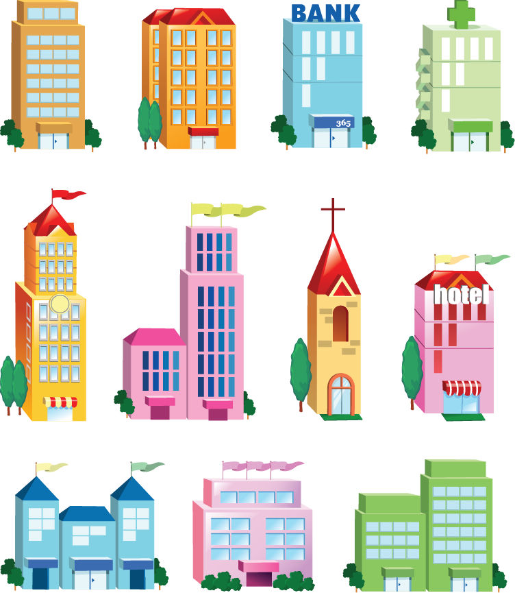 Vector building icon set free vector 4vector for Apartment design vector