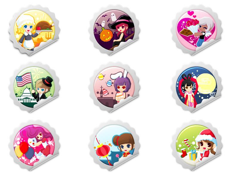 free vector Vector cartoon caps u0026amp stickers