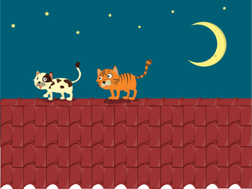 free vector Vector cat on the roof