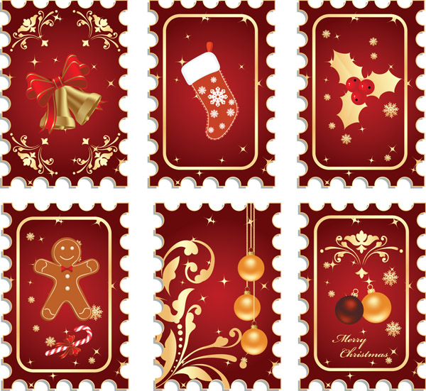 free vector Vector christmas stamps