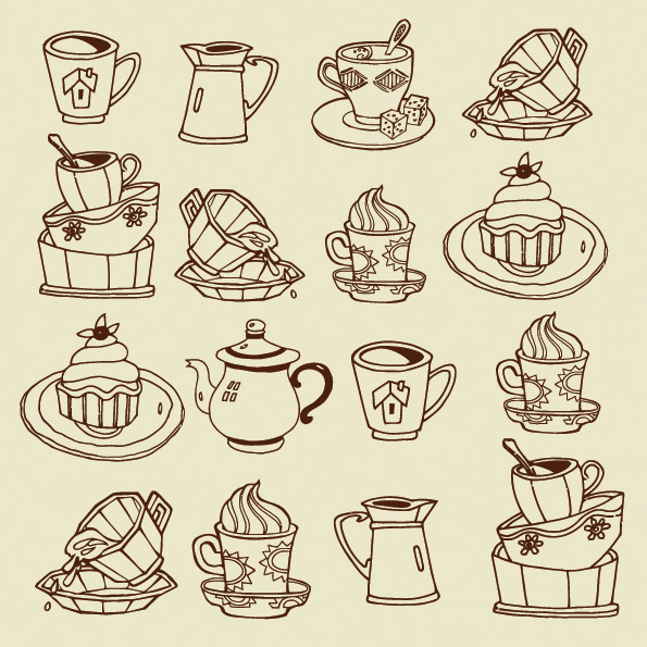 free vector Vector coffee dessert