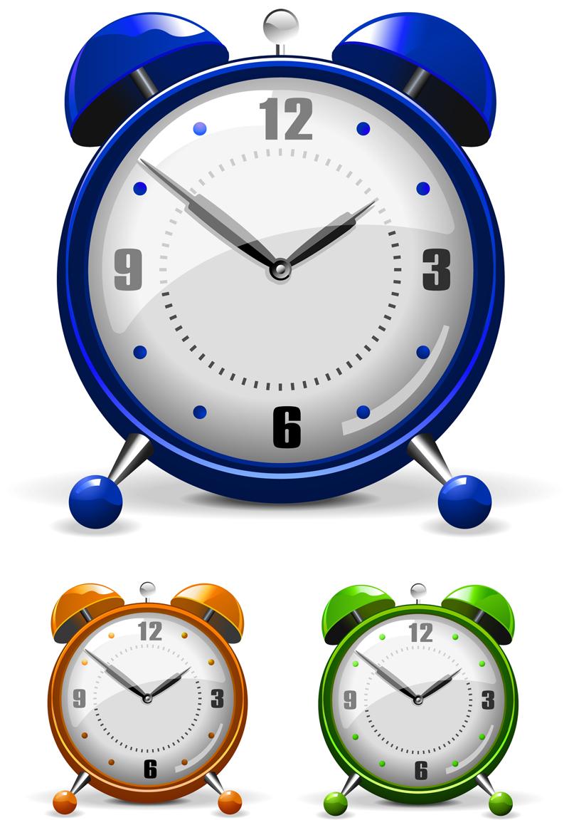 free vector Vector colorful alarm clock