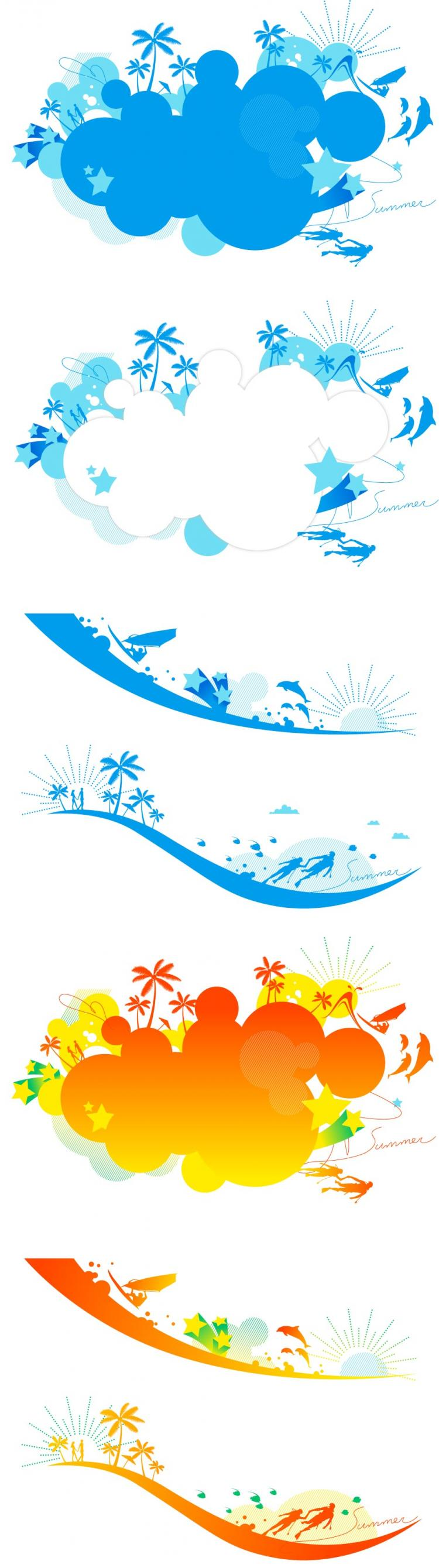 free vector Vector colorful beach