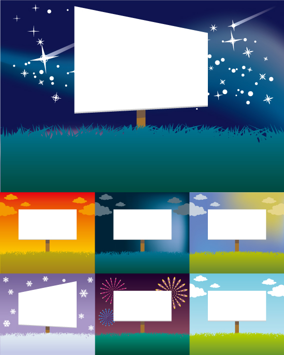 free vector Vector colorful billboards