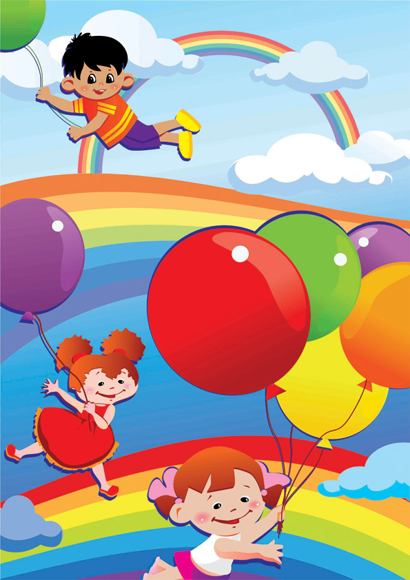 free vector Vector colorful children world
