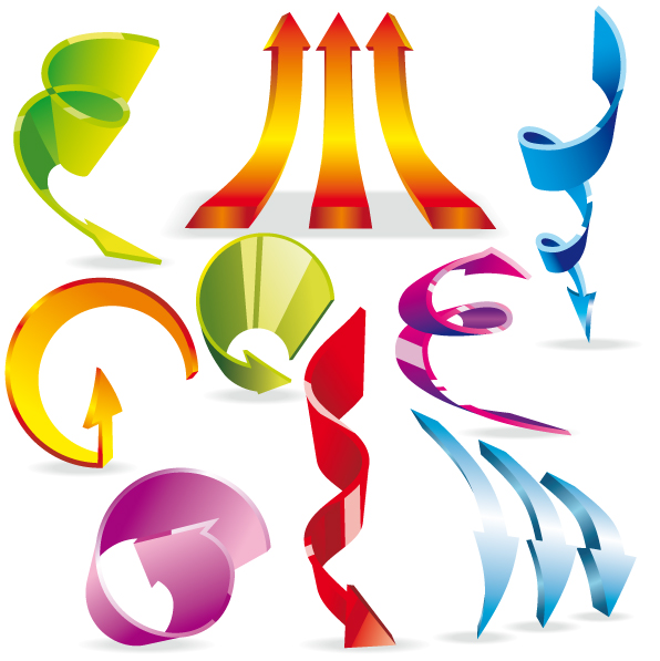 free vector Vector colorful dynamic arrow