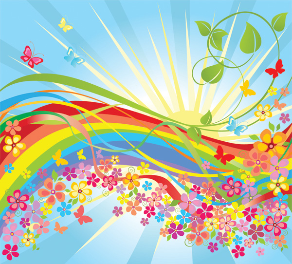 free vector Vector colorful flowers in the world