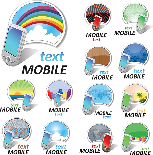 free vector Vector colorful mobile phone