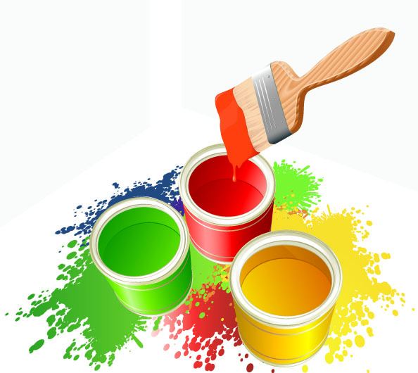 free vector Vector colorful paint bucket