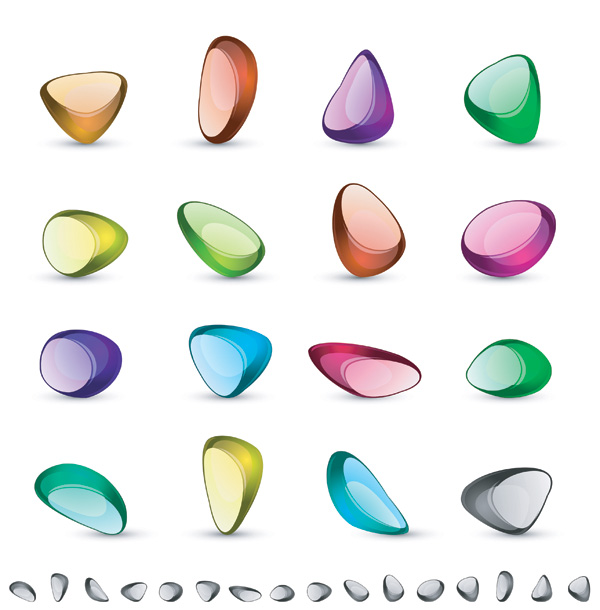 free vector Vector colorful transparent crystal