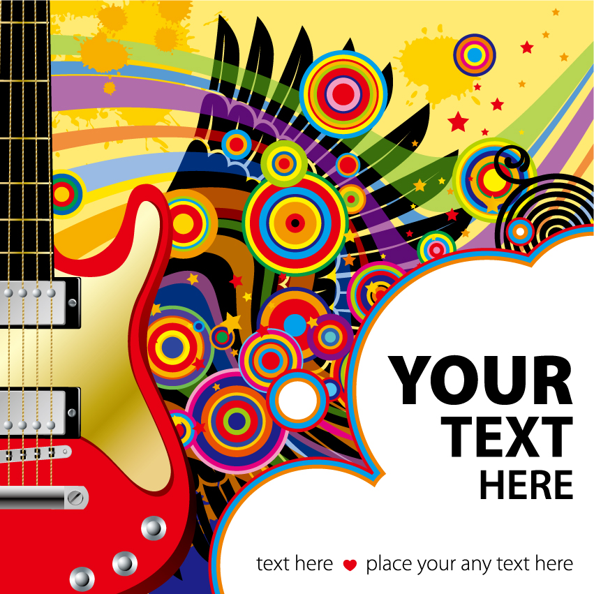 free vector Vector colorful wings guitar music