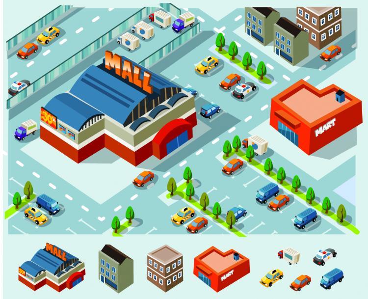 free vector Vector construction of community facilities