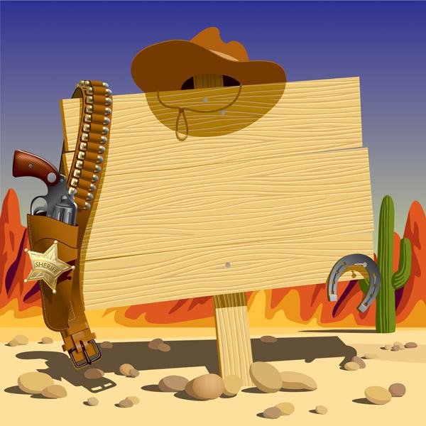free vector Vector cowboy bulletin board