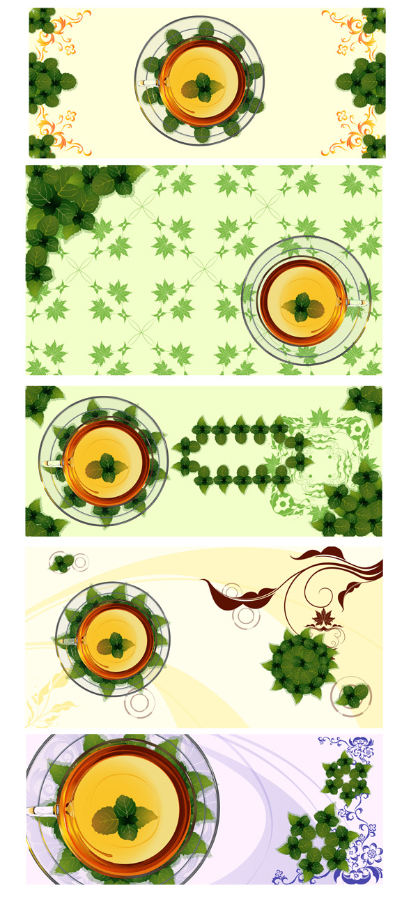 free vector Vector cup mint leaves with transparent