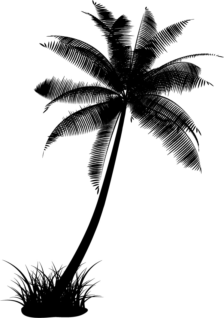 free vector Vector-cut flowers, coconut tree material
