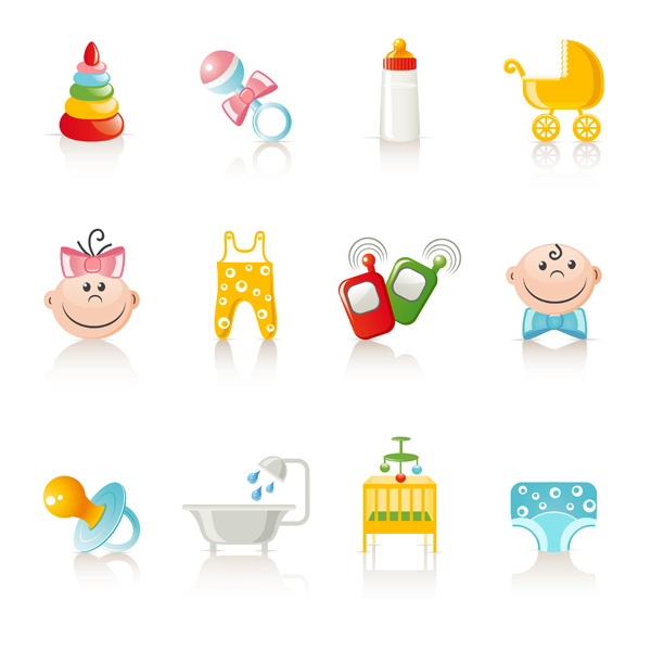 free vector Vector Cute Baby Items Subject Vector