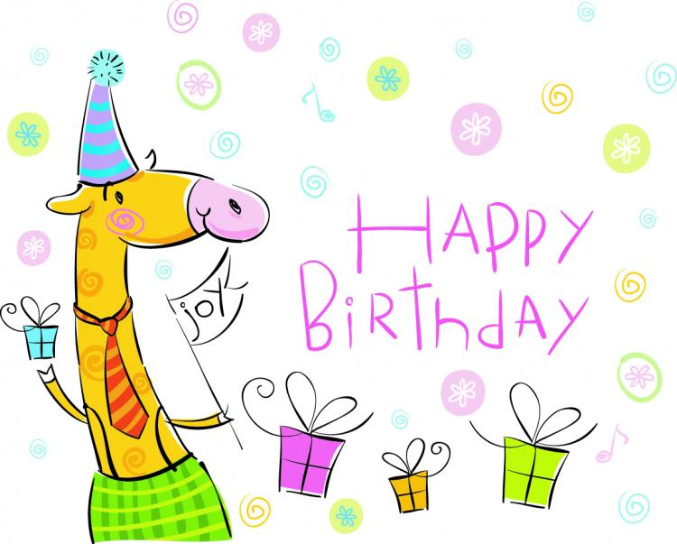 free vector Vector cute cartoon happy birthday