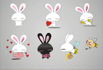 free vector Vector cute cartoon rabbit