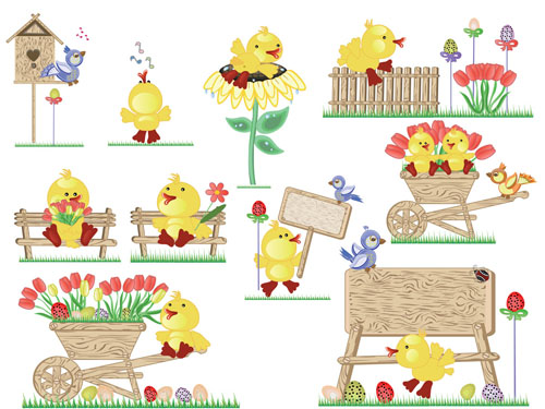 free vector Vector cute easter egg chicks