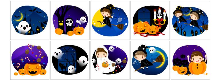 free vector Vector cute halloween scene