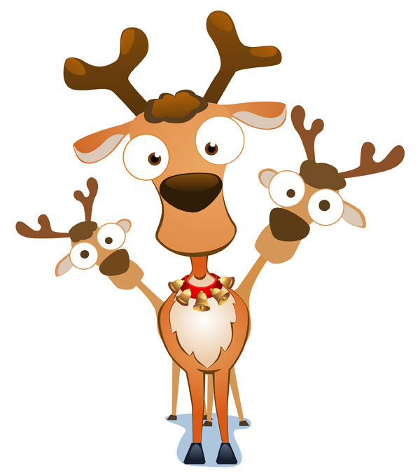 free vector Vector cute santa claus elk and