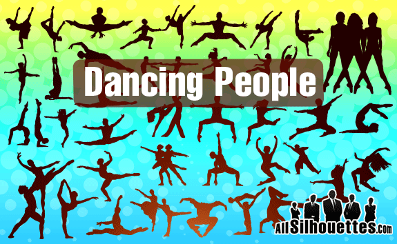 free vector Vector Dancing Silhouettes