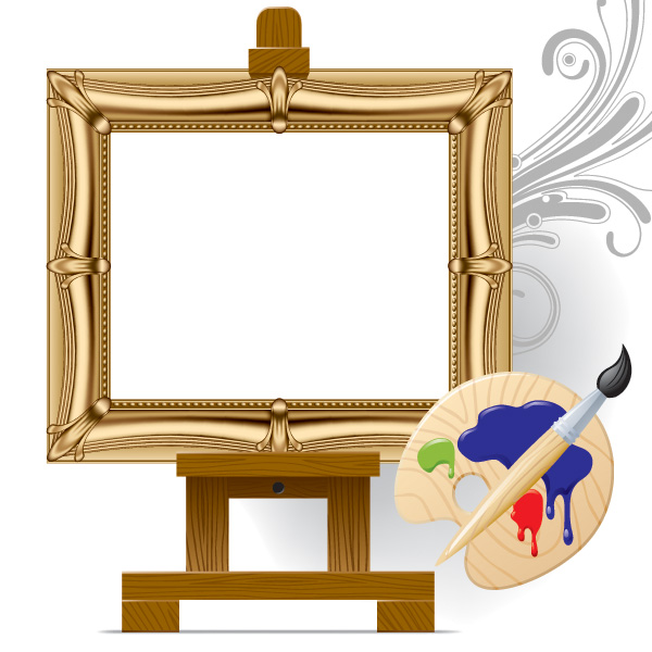 free vector Vector drawing board easel art