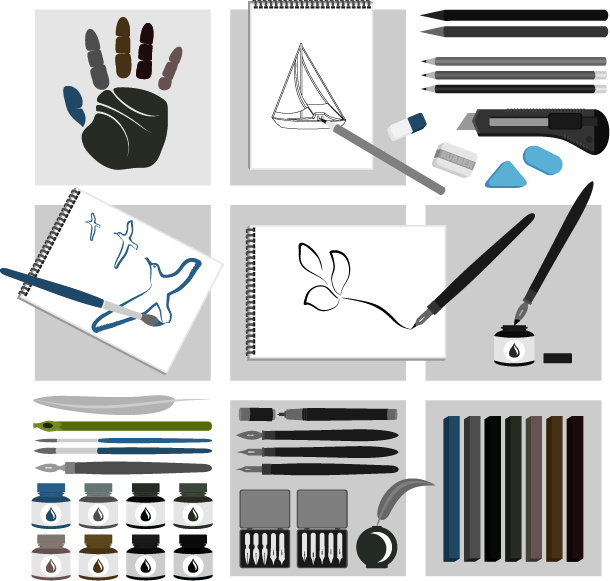 Vector Drawing Tools Series Free Vector 4vector