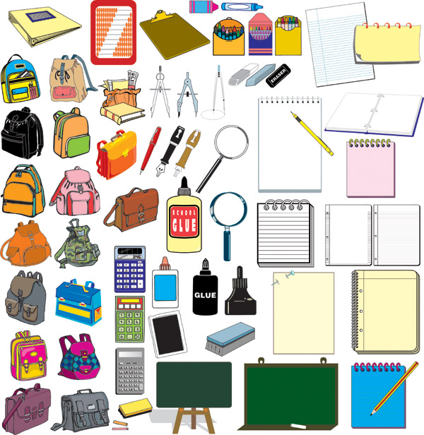 free vector Vector elements of school supplies set
