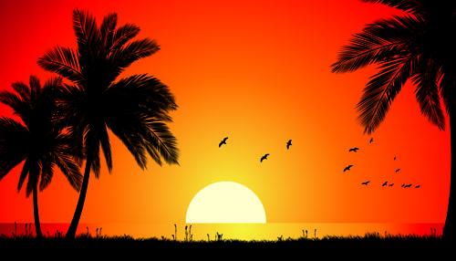free vector Vector evening beach
