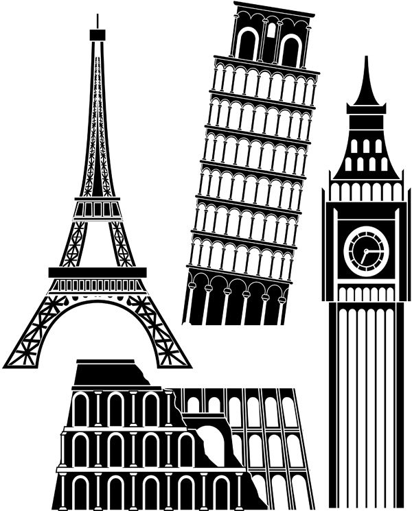 free vector Vector famous buildings