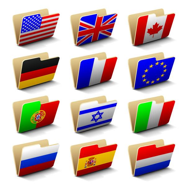 free vector Vector Flag Folders