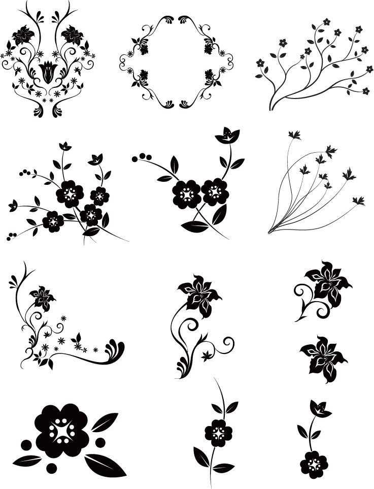 free vector Vector Floral Pack 2