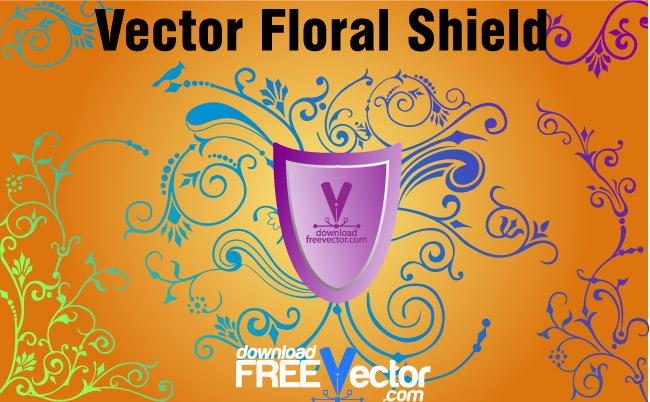 free vector Vector Floral Shield