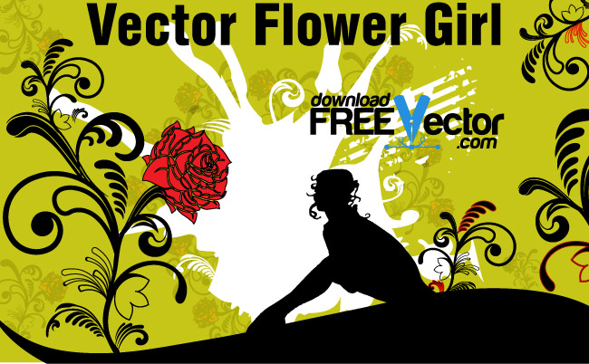 free vector Vector Flower Girl
