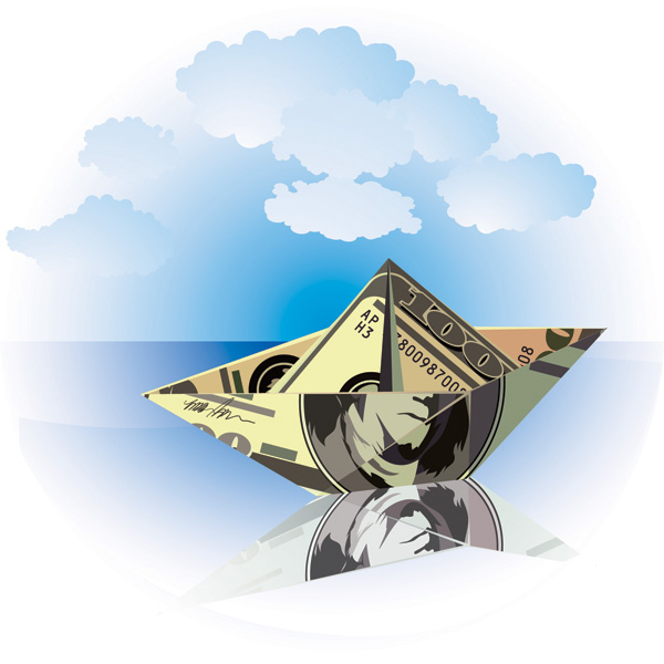 free vector Vector folded dollar items