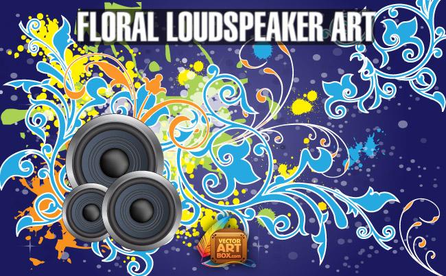 free vector Vector Free Floral Loudspeaker BG Art