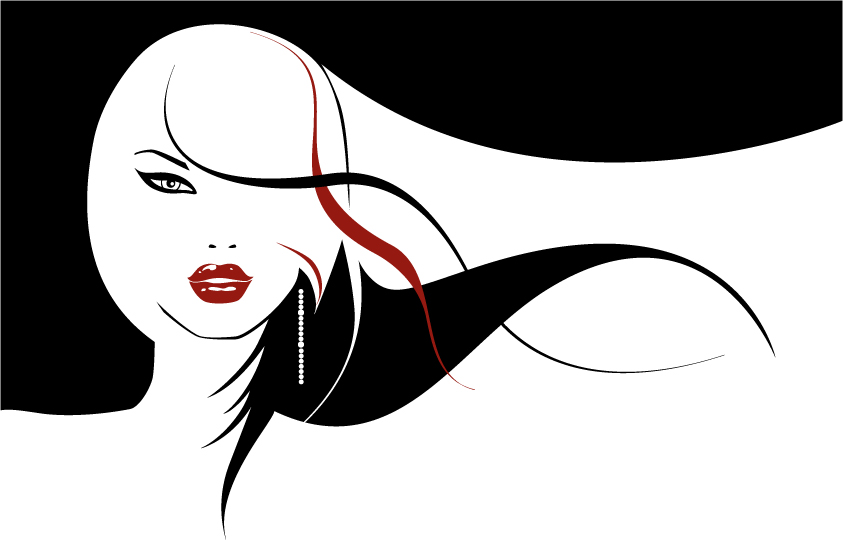 free vector Vector girls with long hair flowing